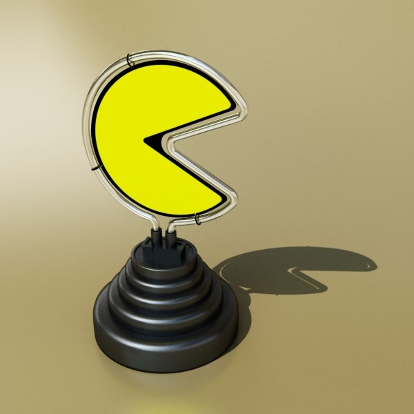 pacman table lamp 3d model 3ds max fbx 134880