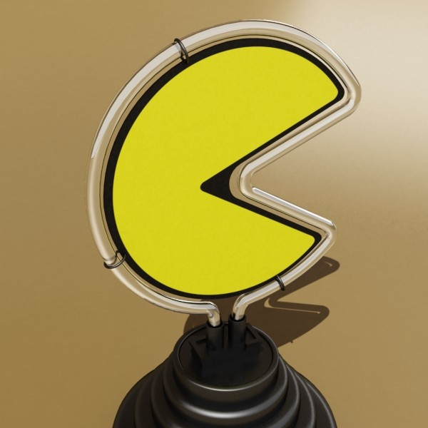 pacman table lamp 3d model 3ds max fbx 134882