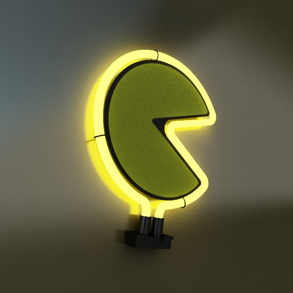 pacman table lamp 3d model 3ds max fbx 134885