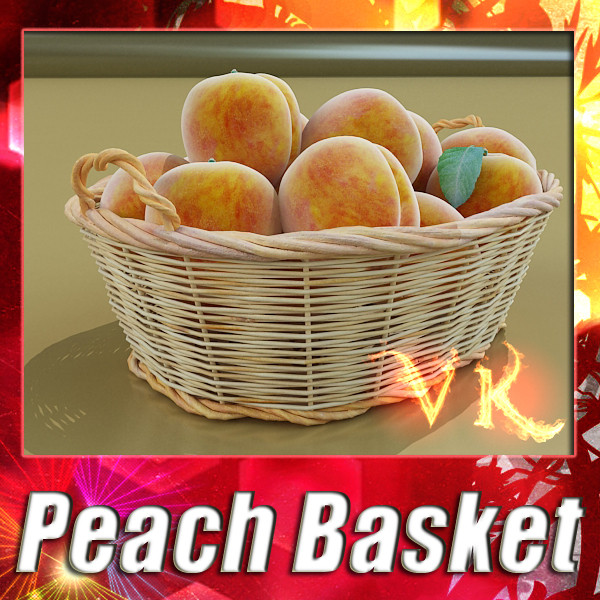 peaches in basket 3d model 3ds max fbx obj 132857