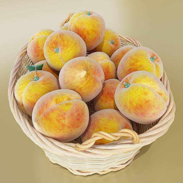 peaches in basket 3d model 3ds max fbx obj 132861