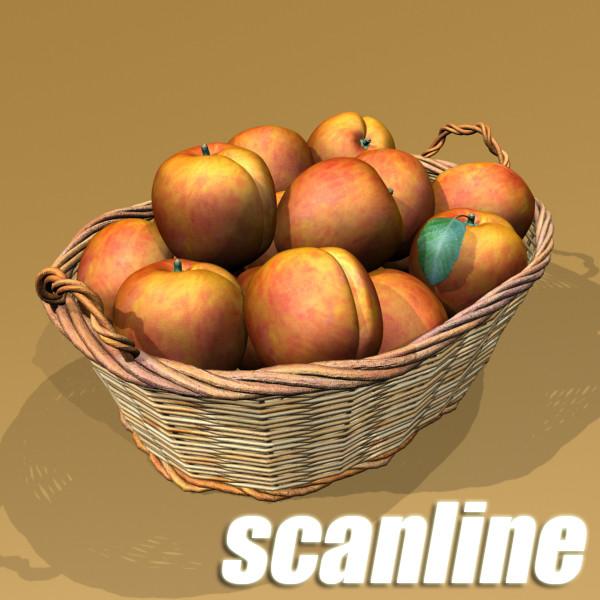 peaches in basket 3d model 3ds max fbx obj 132863