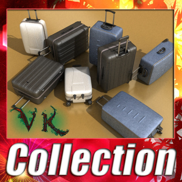 suitcase collection high detail 3d model 3ds max fbx obj 131623