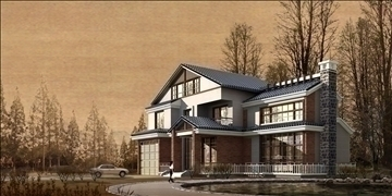 house 007 3d model 3ds psd 91348