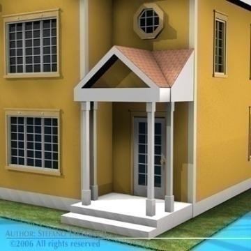 house in american modern style 3d model 3ds dxf c4d obj 78478