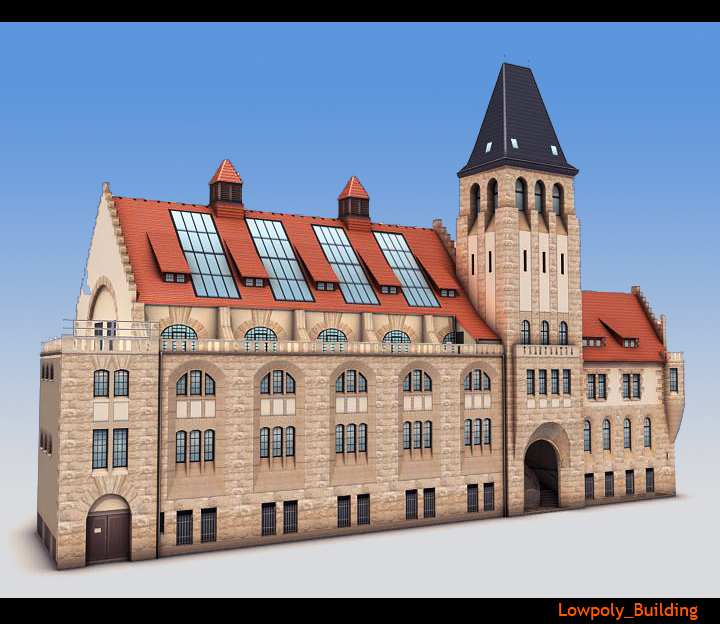 lowpoly city building 3d model 3ds max fbx obj 115572