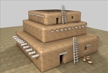 Pueblo 3d model buy pueblo 3d model flatpyramid for How to build a model pueblo house