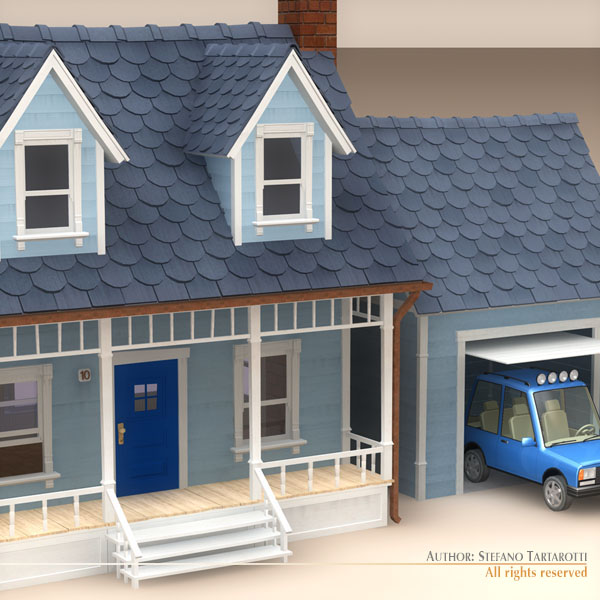 toon house and car 1 3d model 3ds dxf fbx c4d dae 118955