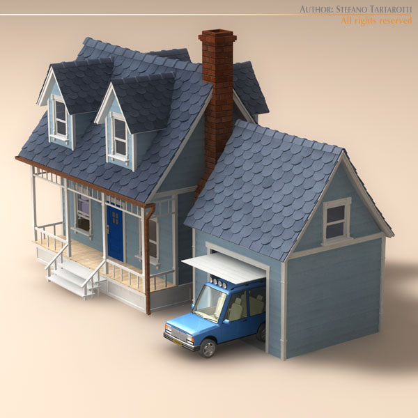 toon house and car 1 7788kb jpg by tartino - 3d Model Home