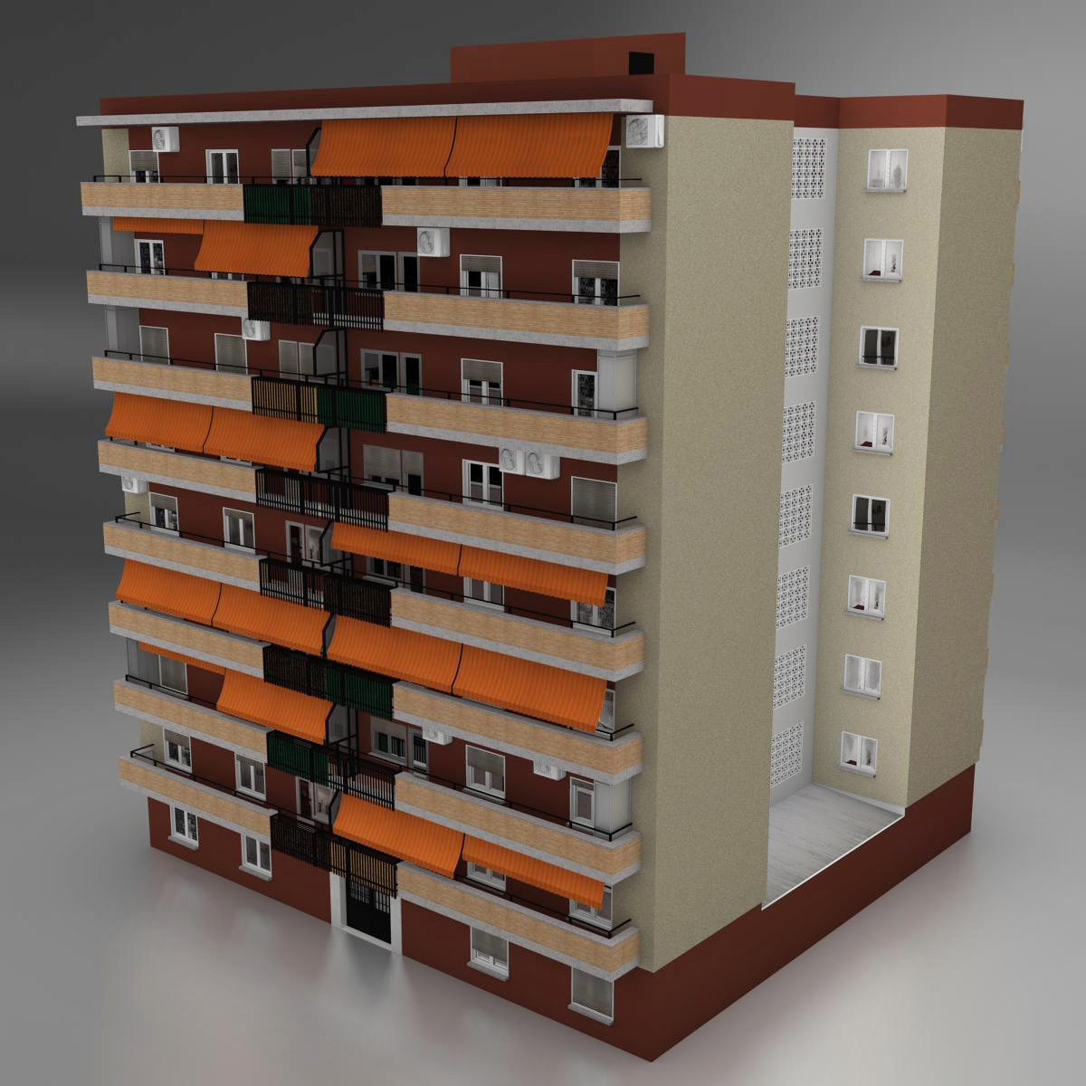 typical spanish building 3d model 3ds max fbx c4d ma mb obj 159482