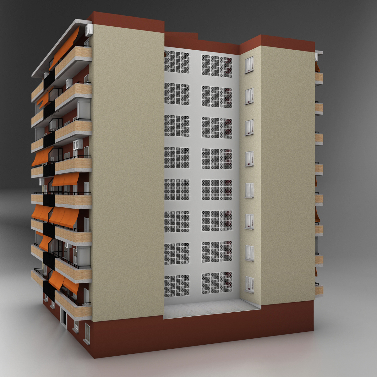 typical spanish building 3d model 3ds max fbx c4d ma mb obj 159484