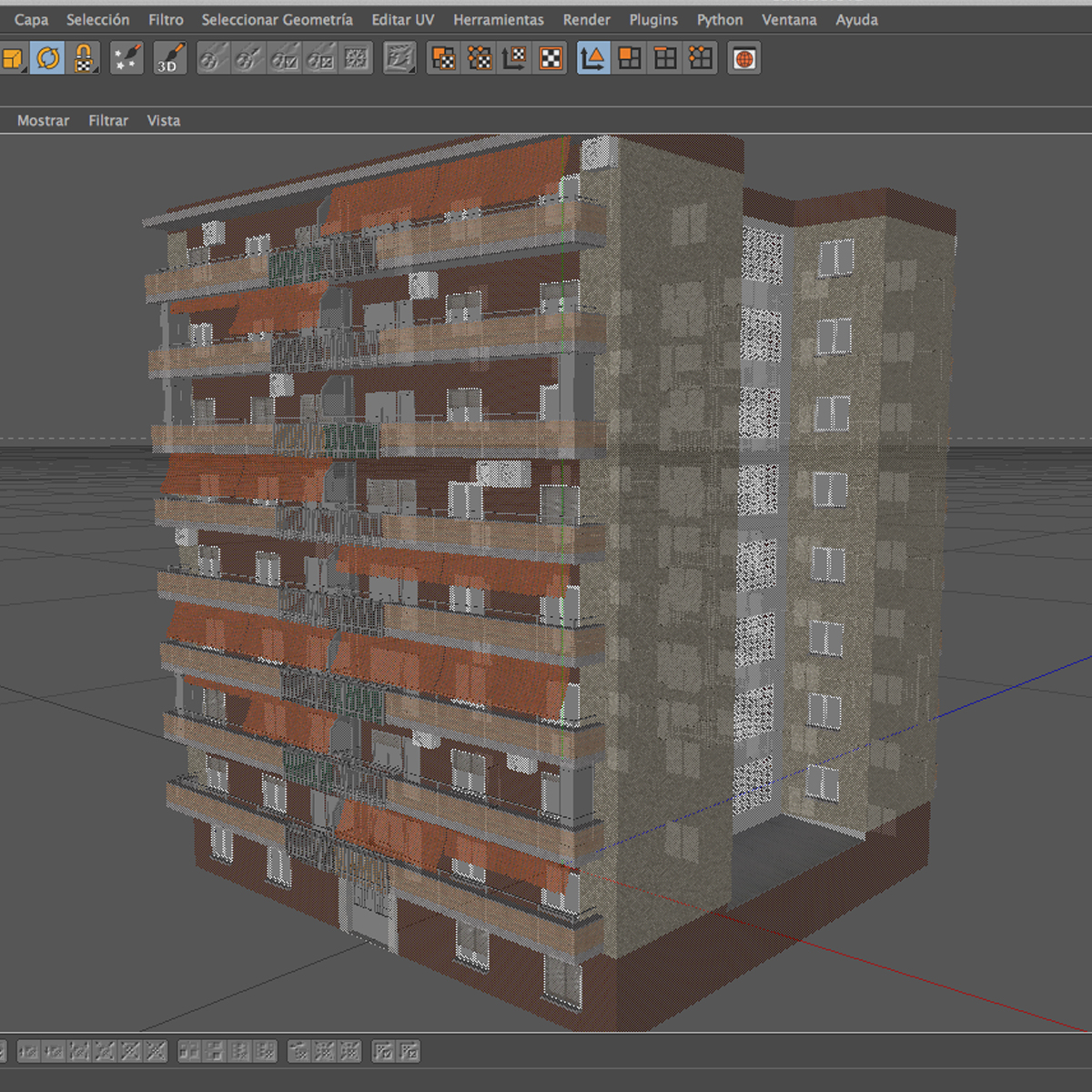 typical spanish building 3d model 3ds max fbx c4d ma mb obj 159493