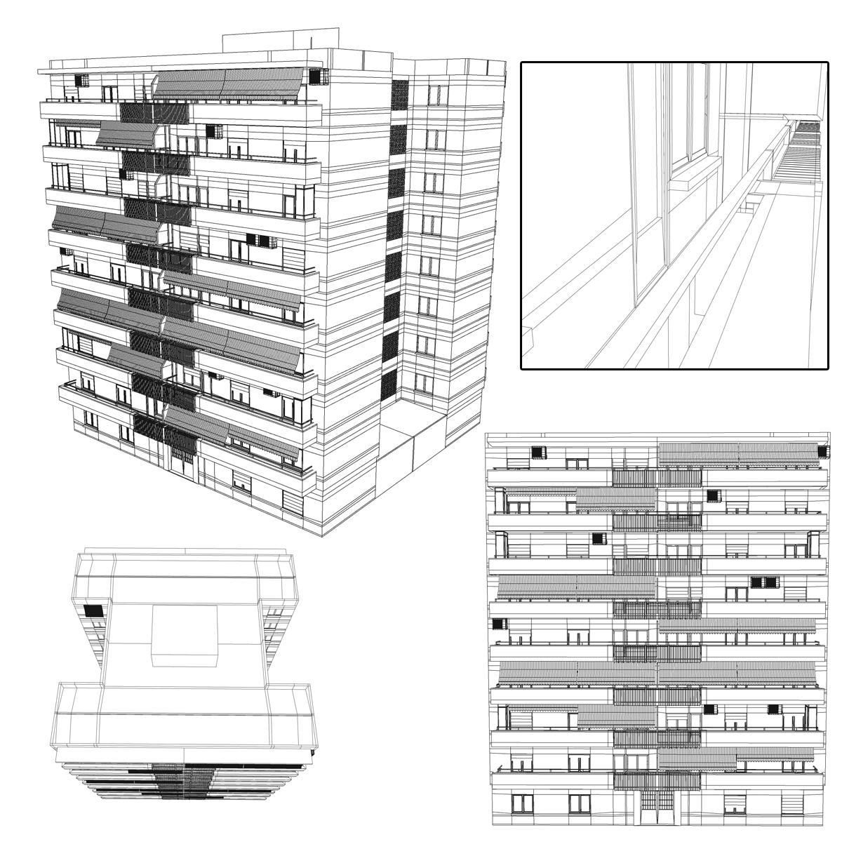 typical spanish building 3d model 3ds max fbx c4d ma mb obj 159497