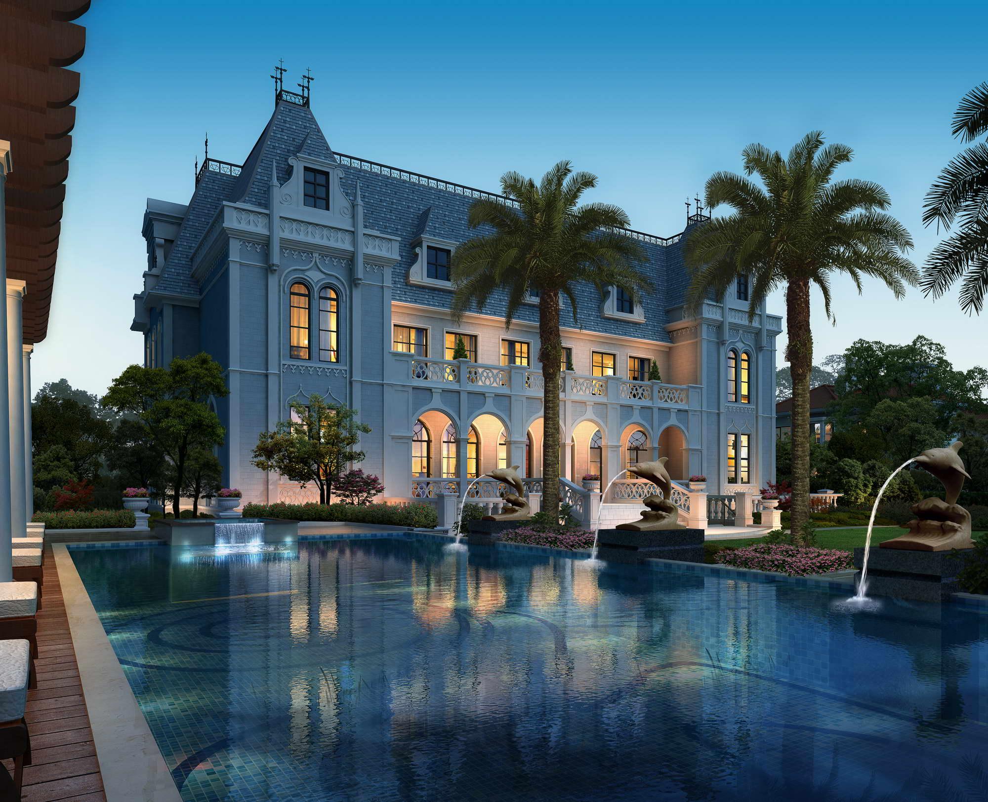 Villa 004 le fountains agus gairdíní 3d max max 165258