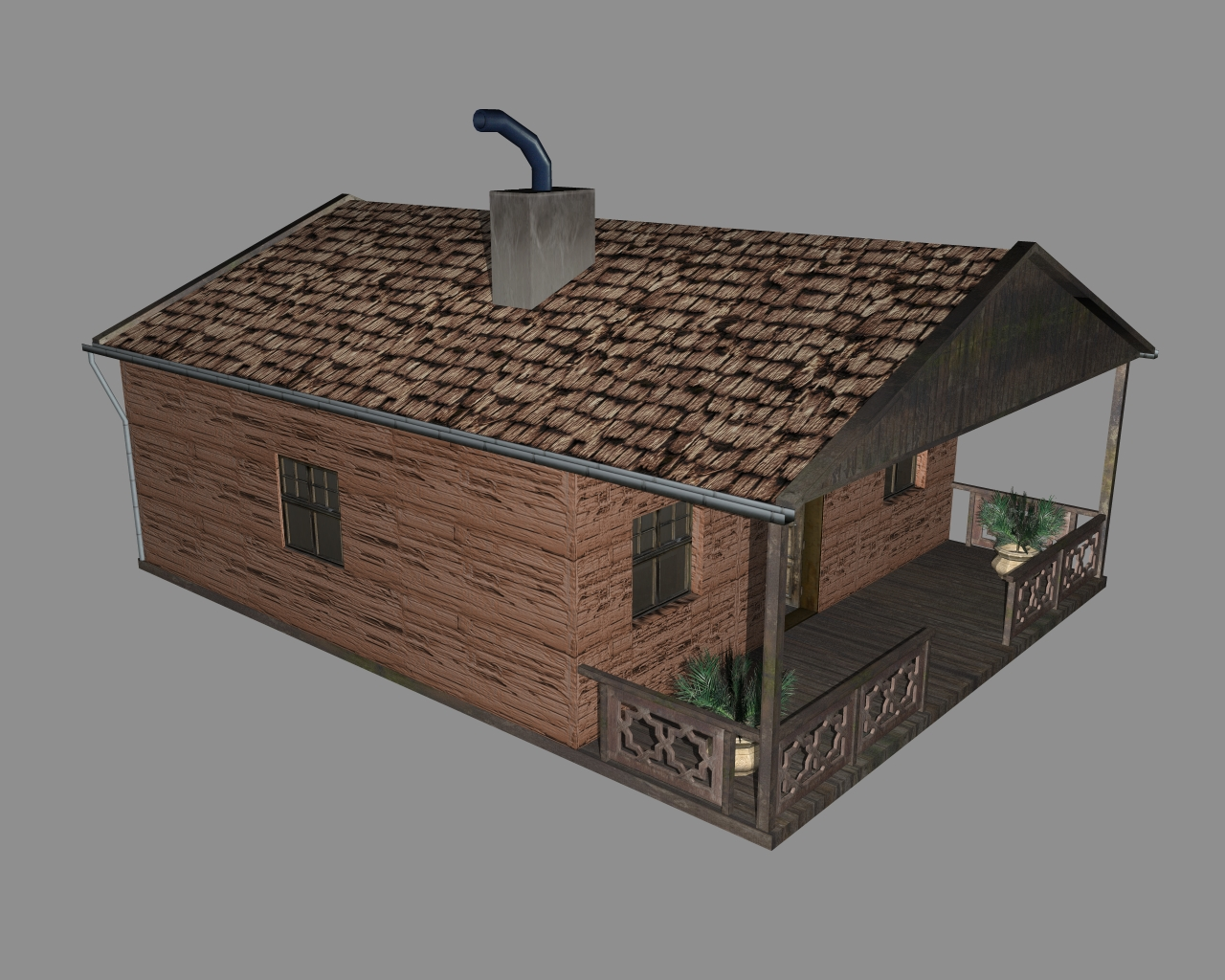 wooden house 2 3d model 3ds 166188