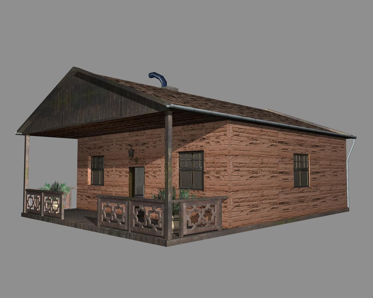 wooden house 2 3d model 3ds 166191