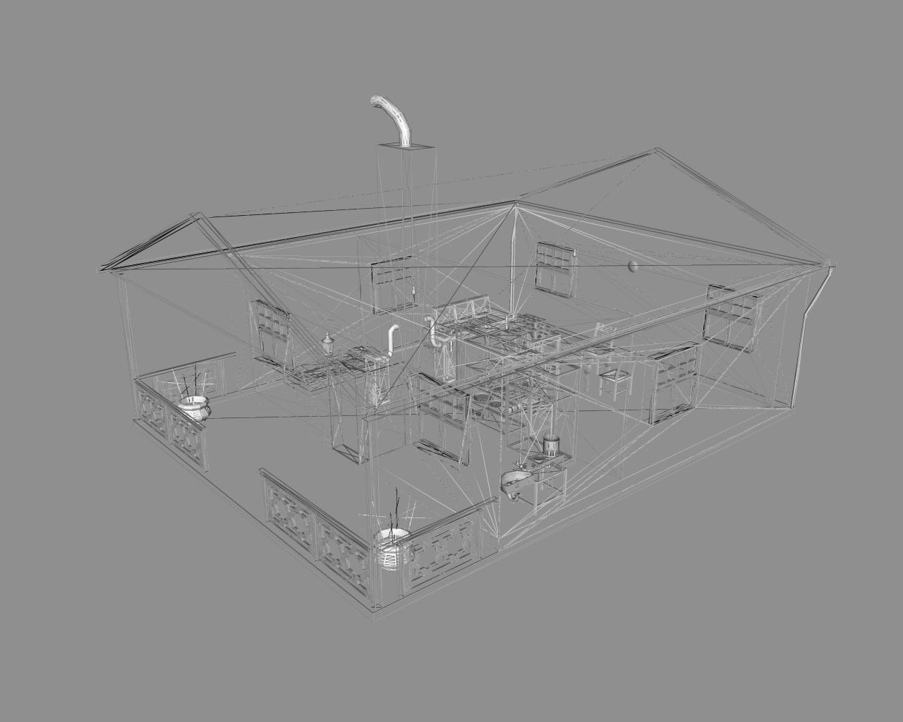 wooden house 2 3d model 3ds 166194
