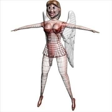 angel in red 3d model 3ds max dxf obj 104899