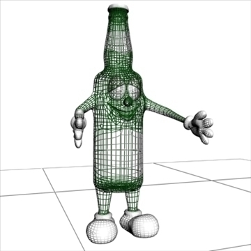 beer bottle cartoon character 3d model 3ds max fbx lwo obj 106788