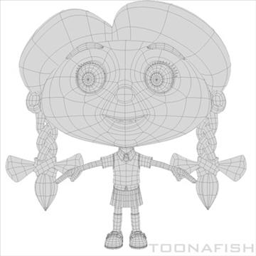 cartoony girl 3d model fbx lwo other hrc xsi texture obj 100315