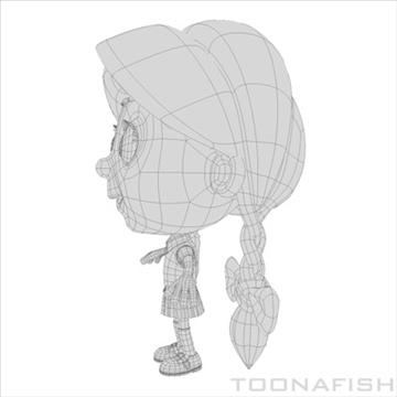 cartoony girl 3d model fbx lwo other hrc xsi texture obj 100316