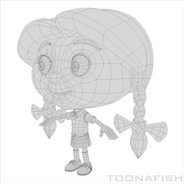 cartoony girl 3d model fbx lwo other hrc xsi texture obj 100317