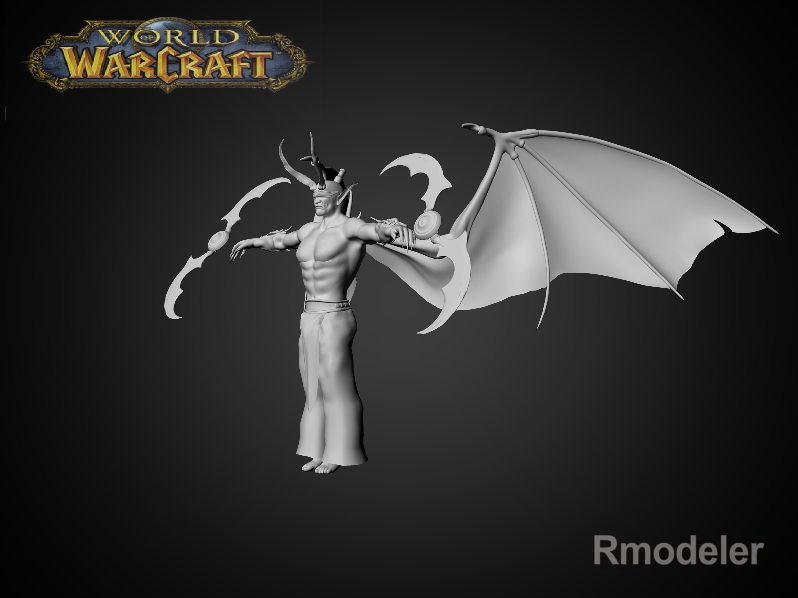 illidan demon hunter 3d model fbx dae ma mb obj 116412