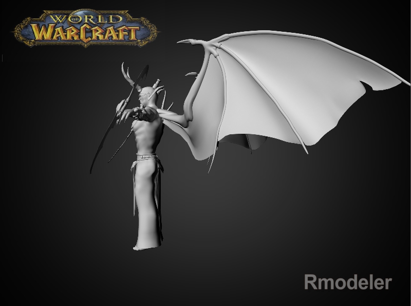 illidan demon hunter 3d model fbx dae ma mb obj 116413