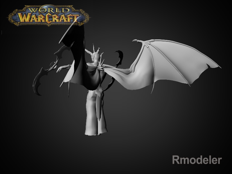 illidan demon hunter 3d model fbx dae ma mb obj 116414