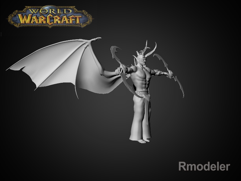 illidan demon hunter 3d model fbx dae ma mb obj 116418