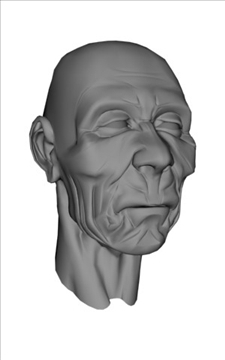 oldman head models 3d model max obj 111687