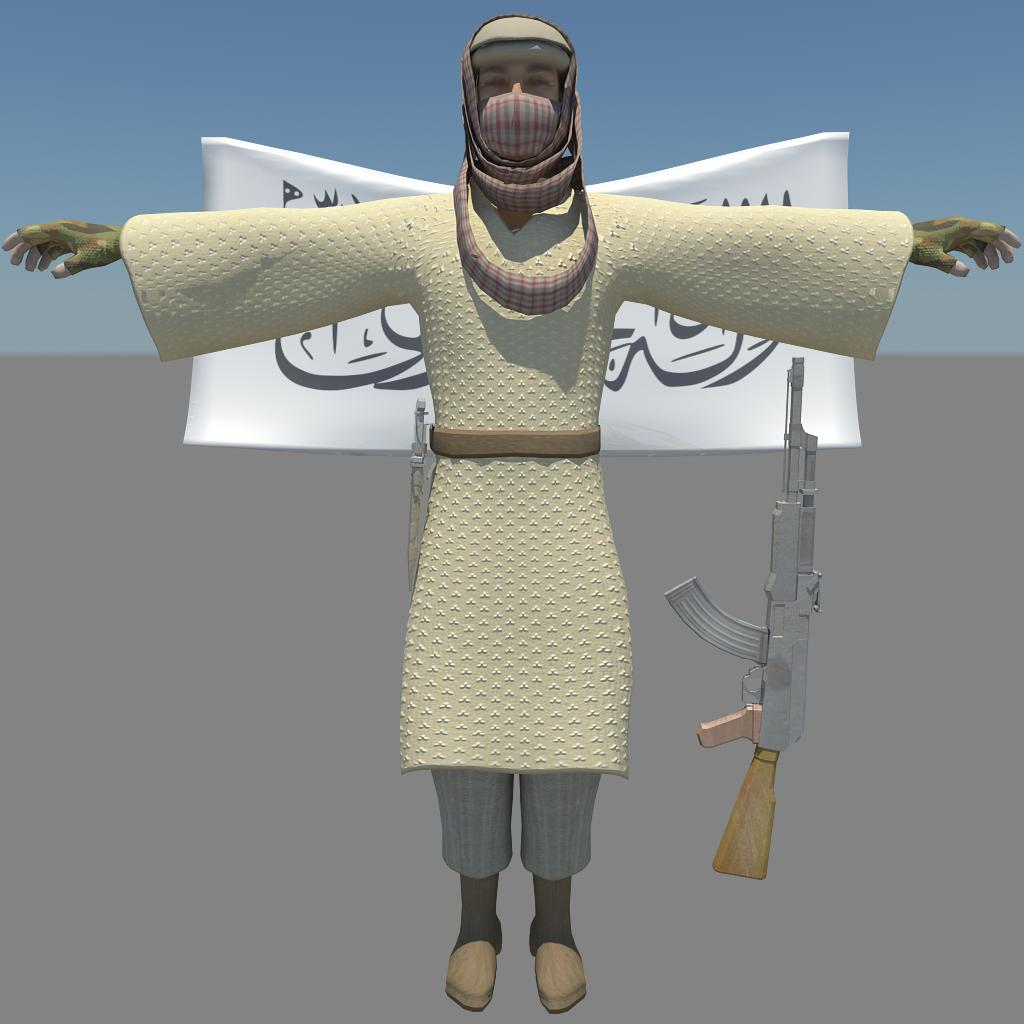 pakistani terorist 3d model fbx dae ma mb obj 116377