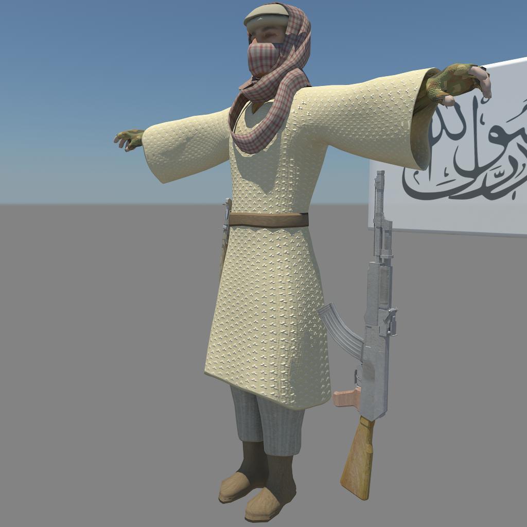pakistani terrorist 3d model fbx dae ma mb obj 116378