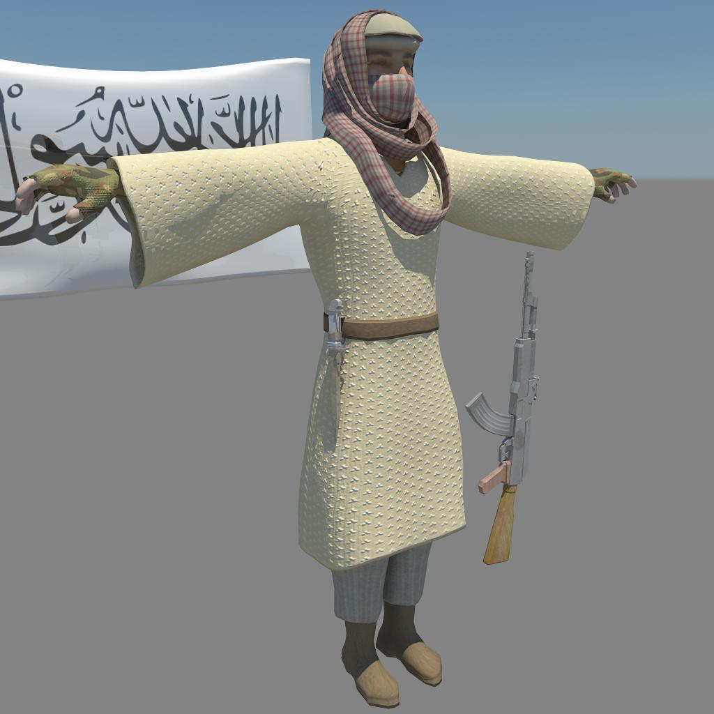 pakistani terrorist 3d model fbx dae ma mb obj 116379