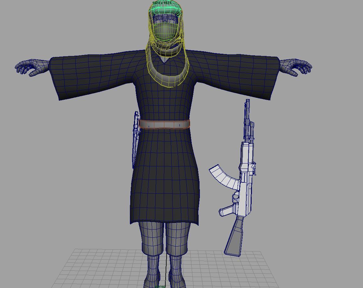 pakistani terrorist 3d model fbx dae ma mb obj 116381