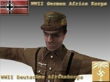 ww2 german africa corps soldier. 3d model 3ds max x lwo ma mb obj 104030