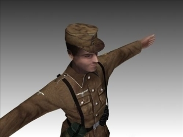 ww2 german africa corps soldier. 3d model 3ds max x lwo ma mb obj 104033