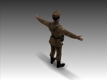 ww2 german africa corps soldier. 3d model 3ds max x lwo ma mb obj 104035