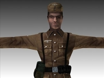 ww2 german africa corps soldier. 3d model 3ds max x lwo ma mb obj 104037