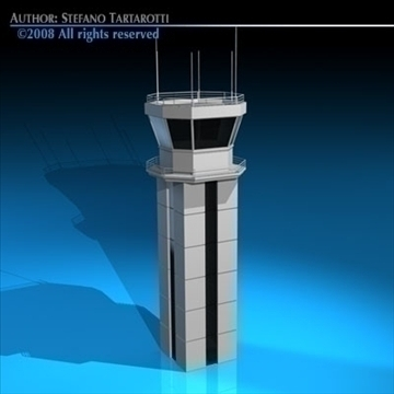 airport control tower 3d modelo 3ds dxf c4d obj 88667