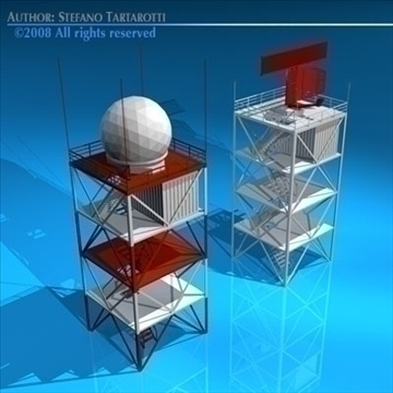 airport radar towers 3d model 3ds dxf c4d obj 88606