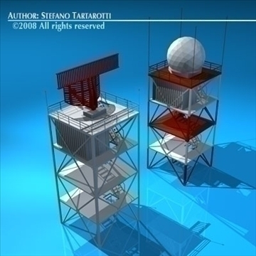 airport radar towers 3d model 3ds dxf c4d obj 88607