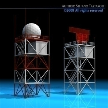 airport radar towers 3d model 3ds dxf c4d obj 88608