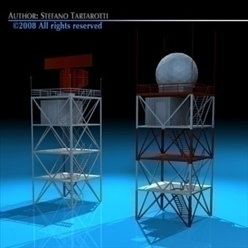 airport radar towers 3d model 3ds dxf c4d obj 88609