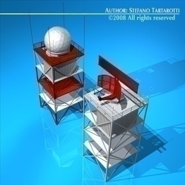 airport radar towers 3d model 3ds dxf c4d obj 88610