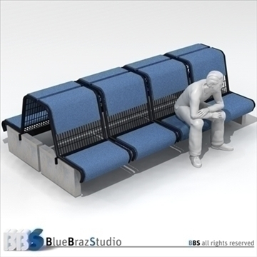 airport seat 3d model 3ds dxf c4d obj 105611
