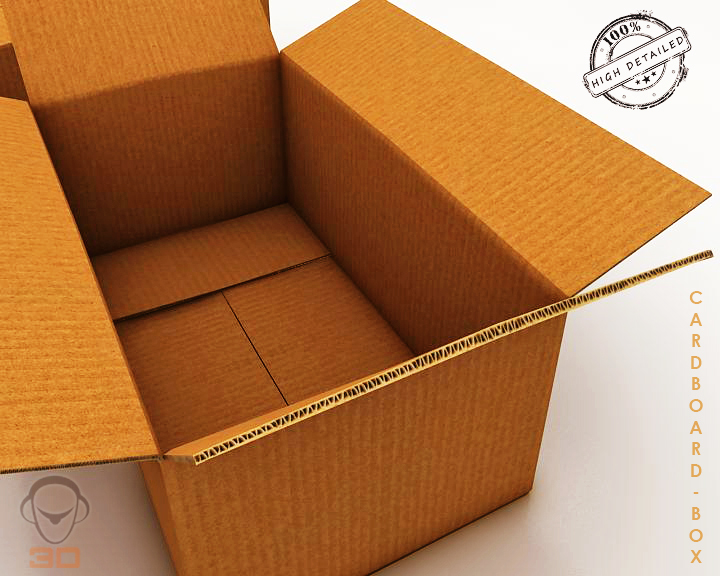 cardboard box 3d model 3ds max fbx obj 117894