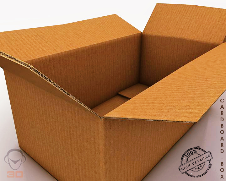 cardboard box 3d model 3ds max fbx obj 117896