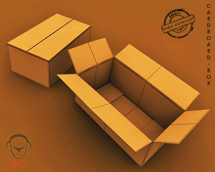 cardboard box 3d model 3ds max fbx obj 117897