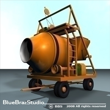 concrete mixer 3d model 3ds dxf c4d obj 89607